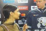 Pamatykite: iššaukianti Rusijos žurnalistės apranga blaškė KHL ledo ritulininko dėmesį