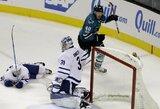 """""""Sharks"""" paskutinėmis minutėmis išplėšė pergalę prieš """"Maple Leafs"""""""