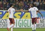 """Lyderių dvikovoje """"Roma"""" įveikė """"Fiorentina"""" ir pakilo į pirmą vietą"""