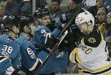 """Nerezultatyviose rungtynėse """"Sharks"""" po pratęsimo nusileido """"Bruins"""""""