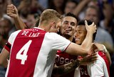 """Bilietų į Čempionų lygą dalybos: svečiuose atsilaikę """"Ajax"""" sugrįžta į grupių etapą, AEK laimėjo seriją net ir netekę žaidėjo"""