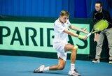 Lietuvos vyrų teniso rinktinės debiutantas T.Babelis vos nepateikė sensacijos Daviso taurėje