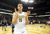 """N.Jokičiaus trigubas dublis, """"Nuggets"""" tritaškių sezono rekordas ir pergalė prieš """"Warriors"""""""