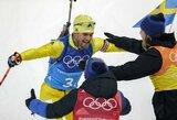 Švedijos vyrų biatlono rinktinė pirmą kartą laimėjo olimpinę estafetę, 15-metė iškovojo Rusijai pirmą aukso medalį