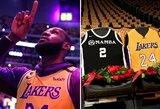 """Pamatykite: """"Staples Center"""" arenoje – ašarų netramdęs ir emocionalią kalbą pasakęs L.Jamesas, specialus vaizdo klipas ir vietos, skirtos K.Bryantui bei Giannai"""