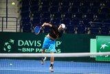 """Lietuvos bei Bosnijos ir Hercegovinos tenisininkai """"Siemens"""" arenoje pradėjo pasirengimą savaitgalio dvikovoms"""