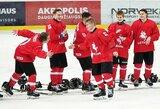 Įspūdingą atkarpą sužaidę jaunieji Lietuvos ledo ritulininkai 9 įvarčių fiestoje nugalėjo estus