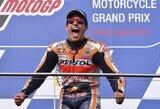 """M.Marquezas išplėšė pergalę Australijoje ir beveik užsitikrino """"MotoGP"""" čempiono titulą"""