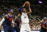 """""""Thunder"""" įveikusi """"Spurs"""" susigrąžino ketvirtąją vietą Vakaruose"""