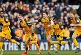 """FA taurės ketvirtfinalis: dviejų įvarčių deficitą panaikinęs """"Brighton"""" po baudinių serijos palaužė """"Millwall"""""""