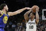 """Fantastiškas S.Curry metimas negelbėjo: devintą kartą iš eilės laimėjo """"Spurs"""""""