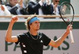 """A.Zverevas vos neprisižaidė pirmajame """"Roland Garros"""" rate, R.Berankio dvejetų partneris išplėšė pergalę"""