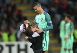 Latvijoje apsilankęs C.Ronaldo pradžiugino mažąjį savo gerbėją