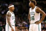 """""""Celtics"""" žaidėjas varžovų rūbinėje išmušė skylę sienoje"""
