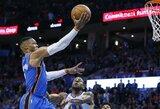 """""""Warriors"""" žvaigždes prajuokino trigubo dublio besivaikęs R.Westbrookas"""