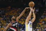 """S.Curry vedama """"Warriors"""" pergalingai pradėjo Vakarų finalą"""