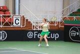 J.Mikulskytė pirmos kategorijos jaunių teniso turnyrą Belgijoje pradėjo permainingai