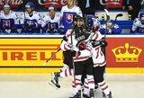 Įspūdingiausios rungtynės čempionate: vienuolikos įvarčių trileryje Kanada paskutinę sekundę išplėšė pergalę prieš Slovakiją