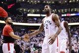 "40 taškų pirmavusi ""Raptors"" priartėjo prie konferencijos finalo"