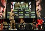 T.Fury ir D.Wilderis susitiko spaudos konferencijoje: britas kalbėjo apie psichologiškai silpną varžovą , amerikietis paruošęs kitą savo versiją