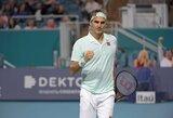 """R.Federeris """"Miami Open"""" ketvirtfinalyje nepagailėjo varžovui """"riestainio"""""""