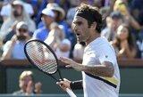 Pratęsime išsigelbėjęs R.Federeris Indian Velse pateko į trečiąjį ratą, netikėtai krito penktoji pasaulio raketė