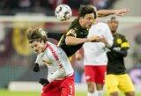 """Dortmundo futbolininkai minimaliu rezultatu įveikė """"RB Leipzig"""""""