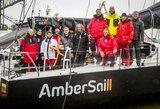 """Iš Karibų su pergalėmis grįžtančią jachtą """"Ambersail 2"""" Klaipėda pasitiko su trispalvėmis ir lietumi"""