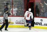 """NHL atkrintamosios: neįskaitytas iš aikštės išvaryto A.Ovečkino įvartis bei trečiasis """"Capitals"""" pralaimėjimas"""