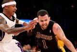 """Vakarų konferencijos autsaiderių dvikovoje """"Lakers"""" nutraukė nesėkmių seriją"""