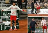 """""""Roland Garros"""" darbuotojus pamokęs N.Djokovičius atsisakė žaisti, kol nebus uždengtas stogas"""
