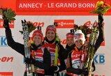 Vokietės šventė pergalę pasaulio biatlono taurės estafetėje