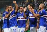 """""""Sampdoria"""" ir """"Napoli"""" akistatoje – triumfavo šeimininkai, """"Lazio"""" Italijos čempionate iškovojo pirmąją pergalę"""