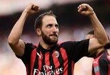 """G.Higuainas pelnė dublį, o """"AC Milan"""" iškovojo pergalę"""