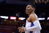 """Įspūdingai paskutinį kėlinį sužaidęs R.Westbrookas vedė """"Thunder"""" į pergalę"""