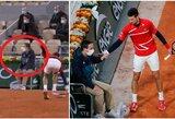 """Linijos teisėjui į veidą pataikęs N.Djokovičius pateko į """"Roland Garros"""" ketvirtfinalį"""
