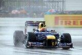 """S.Vettelis: """"Lenktynės dėl lietaus gali virsti loterija"""""""