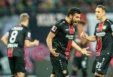 """Vokietija: du įvarčius rungtynių pabaigoje smeigę """"Bayer"""" kyla į dešimtą vietą"""