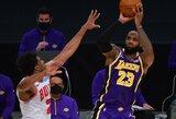 """L.Jameso vedama """"Lakers"""" iškovojo pergalę be dviejų startinio penketuko krepšininkų"""
