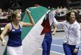 Čempionių titulą ginančios Italijos tenisininkės pateko į Federacijų taurės turnyro pusfinalį