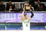 Tritaškį iš pusės aikštės smeigęs J.Tatumas laimėjo NBA įgūdžių konkursą