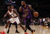 Geriausias sezono rungtynes sužaidęs L.Jamesas aplenkė NBA legendą ir iškovojo pergalę