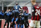 """""""AC Milan"""" sutriuškinęs """"Inter"""" sutvirtino """"Serie A"""" lygos lyderio poziciją"""