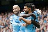 """Jokio pasipriešinimo: S.Aguero pelnė """"hetriką"""", o """"Manchester City"""" sutriuškino """"Huddersfield"""""""