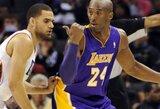 """Svarus K.Bryanto indėlis padėjo """"Lakers"""" išsivežti pergalę iš Šarlotės"""