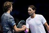 """""""ATP Finals"""" turnyrą R.Nadalis pradėjo pirmą kartą karjeroje pralaimėjus A.Zverevui"""