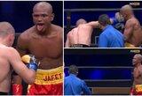 J.Gonzalezas prajuokino bokso gerbėjus: iškišęs liežuvį ragino E.Stanionį dažniau smūgiuoti