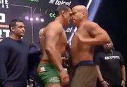 Pamatykite: prieš intriguojančią buvusių UFC ir WWE čempionų MMA kovą –vos nekilusios muštynės svėrimų metu