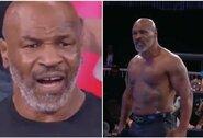 Amerikietiškų imtynių turnyre pasirodęs M.Tysonas negalėjo patikėti atliktu triuku ir išgąsdino J.Robertsą