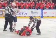 Pamatykite: NHL klubams priklausančių perspektyvių ledo ritulininkų muštynėse – vieno smūgio nokautas bei gražus gestas